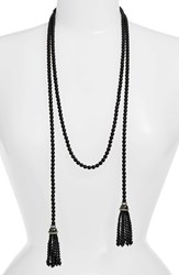 Cristabelle Women's Faux Pearl Lariat Necklace Jet