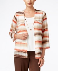 Alfred Dunner Santa Fe Collection Striped Layered Look Top Multi