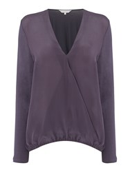 Gray And Willow Siar Silk Front Jersey Back Wrap Blouse Charcoal