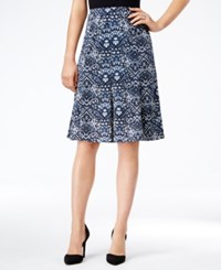 Ny Collection Petite Printed Pull On A Line Skirt Azul Pagea