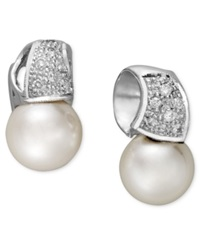 Belle De Mer 14K White Gold Earrings Cultured Freshwater Pearl 9Mm And Diamond 1 5 Ct. T.W. Wave Stud Earrings