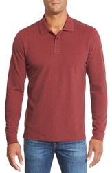 Men's Big And Tall Nordstrom Long Sleeve Pique Cotton Polo Red Rosewood