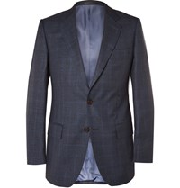 Gieves And Hawkes Navy Slim Fit Checked Wool Suit Jacket