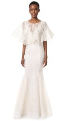 Marchesa Lavender Gown Ivory