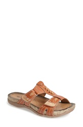 Earth 'Abaca' Leather Sandal Women Orange Brown