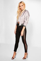 Boohoo Adaira Sheer Grid Side Panel Leggings Black