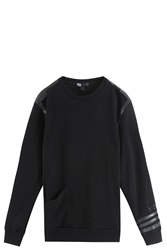 Y 3 Leather Trimmed Sweater Black
