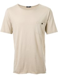 Bassike 'Original' Button Pocket T Shirt Nude And Neutrals