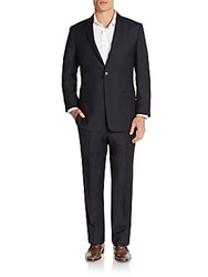 Versace Regular Fit Solid Wool And Cashmere Suit Blue