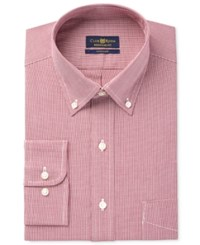 Club Room Estate Men's Classic Fit Wrinkle Resistant Cranberry Houndstooth Dress Shirt Only At Macy's