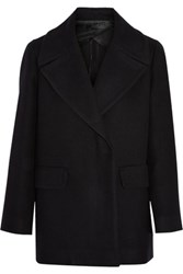 The Row Antonia Cotton And Wool Blend Coat Black