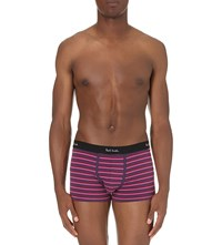 Paul Smith Stripe Print Stretch Cotton Trunks Pink Plum