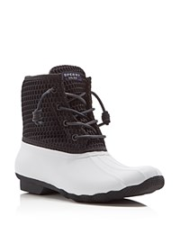 Sperry Saltwater Honeycomb Cold Weather Waterproof Booties White Black