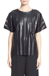 Women's Alexander Wang Crinkled Faux Leather Tee Onyx