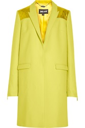 Just Cavalli Foiled Wool Blend Coat Yellow
