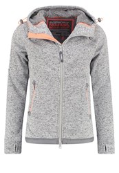 Superdry Storm Cardigan Grey Grit Fluro Orange Mottled Light Grey