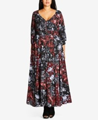 City Chic Trendy Plus Size Smocked Maxi Dress Black