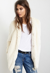 Forever 21 Collarless Luxe Faux Fur Coat