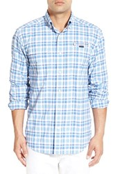 Vineyard Vines Men's 'Bodkin Harbor' Plaid Nylon Sport Shirt Flag Blue