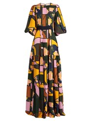 Roksanda Ilincic Aubert Floral Print Silk Georgette Dress Navy Multi