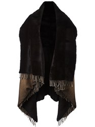 Avant Toi Reversible Fringed Oversize Scarf Brown