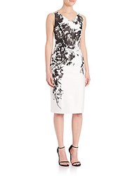 David Meister Floral Print V Neck Sheath Dress White Black
