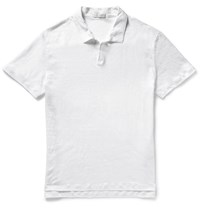 Onia Shaun Linen Polo Shirt White