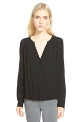 Trouve Women's Trouve Surplice Zip Cuff Blouse Black