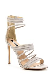Lost Ink Rally Padded Strap Heeled Sandals Light Grey