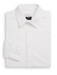 Versace Trend Fit Woven Cotton Dress Shirt White