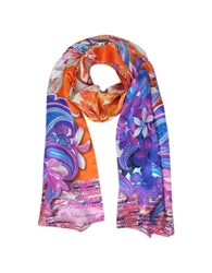 Mila Schon Flowers And Paisley Print Silk Stole Purple Orange