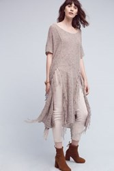 Anthropologie Tasseled Poncho Tunic Neutral