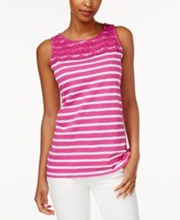 Charter Club Petite Striped Crochet Detail Tank Top Only At Macy's Spanish Red