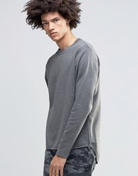 Cheap Monday Oversee Sweatshirt Side Zips Curved Tail Grey Elephant Melange