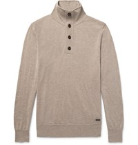 Burberry Funnel Neck Cashmere And Silk Blend Sweater Mushroom