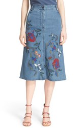 Tibi Women's 'Marisol' Embroidered Applique Denim A Line Skirt