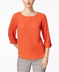 Nine West Roll Tab Blouse Sunset