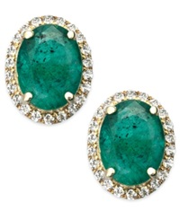 Macy's Emerald And White Sapphire Oval Stud Earrings In 10K Gold 2 1 2 Ct. T.W. Green