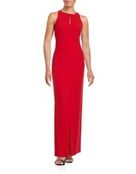 Calvin Klein Crepe Keyhole Gown Red