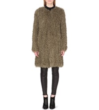 Whistles Knitted Shearling Coat Khaki Olive