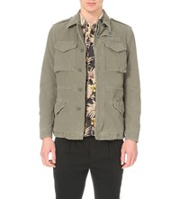 Allsaints Berra Cotton Military Jacket Khaki Green