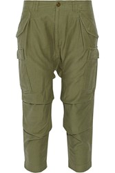 Nlst Cropped Cotton Cargo Pants Green