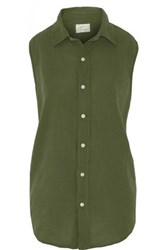 Current Elliott The Sleeveless Grad Shirt Cotton Top Army Green