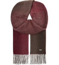 Hugo Boss T Hereno Wool Cashmere Blend Scarf Red