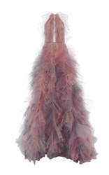 Marchesa Halter Neck A Line Ball Gown Pink Blue Yellow