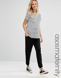 Asos Maternity Jersey Peg Trouser With Draw Cord Waist Black