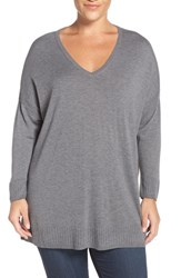 Sejour Plus Size Women's Dolman Sleeve V Neck Sweater Grey Dark Heather