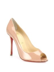 Christian Louboutin Yootish 100 Patent Leather Peep Toe Pumps Nude