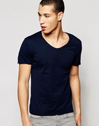 Selected Homme Raw Neck T Shirt Navy