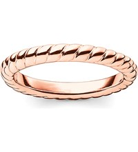 Thomas Sabo Glam And Soul 18Ct Rose Gold Plated Sterling Silver Twisted Midi Ring